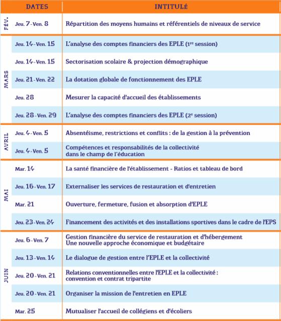 Agenda 2019 - Février à juin