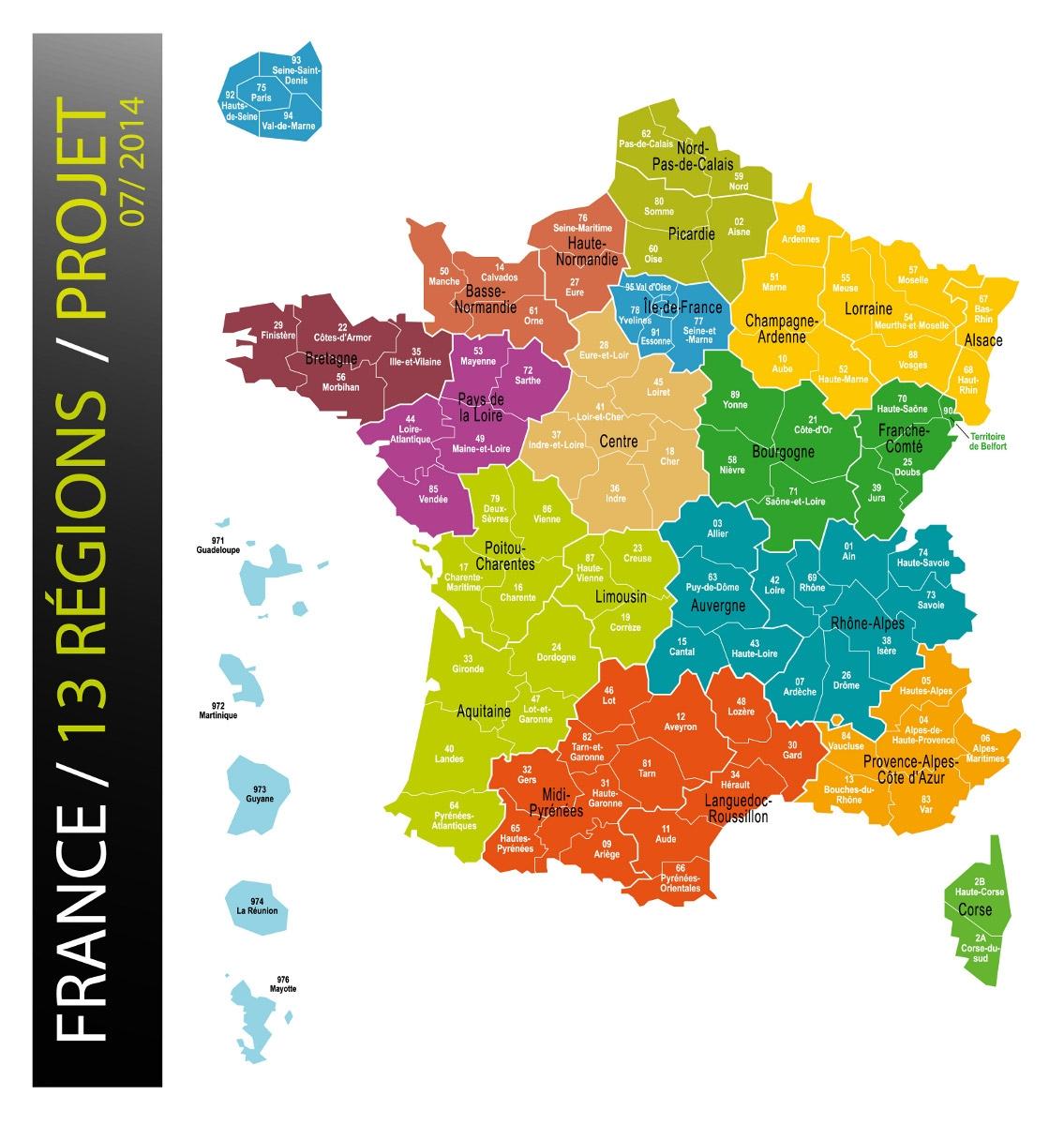Réforme territoriale - Carte des Régions